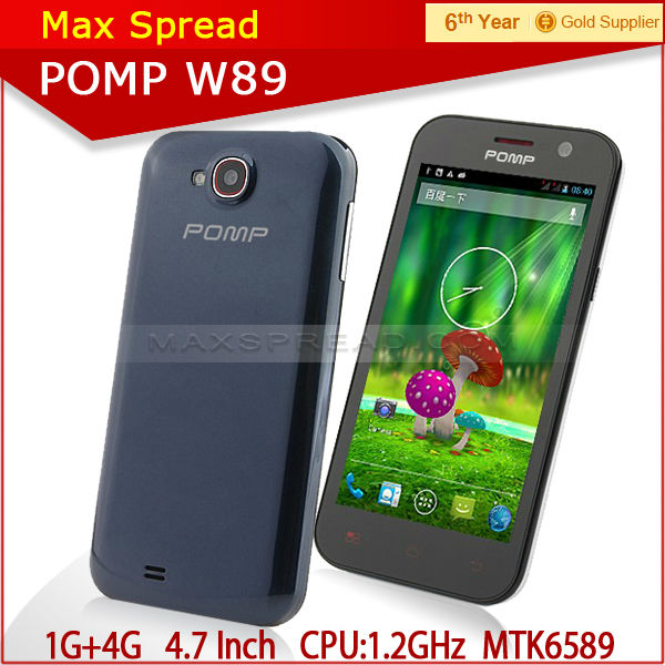 100% original Pomp W89 1g ram 4g rom 4.63 inch screen 854*480 1.2 GHz quad core-CPU MTK6589 smart phone android