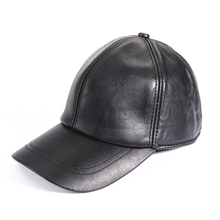 Plain leather belt snapback cap Korean black leather baseball caps