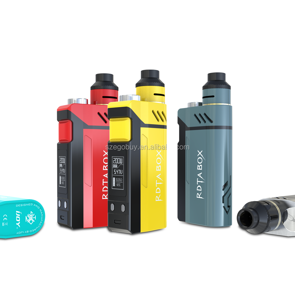100% Authentic IJOY RDTA BOX 200W Kit 200w Vape Box Mod with 12.8ml Tank 0.96 inch OLED Screen IMC 3 deck