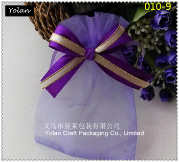 purple custom made organza bags pouches