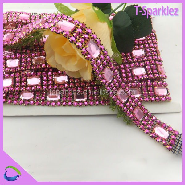 rhinestone mesh with chaton glass, garment rhinestone strip