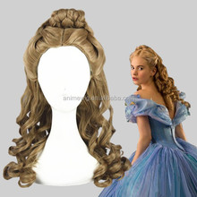 High Quality 55cm Medium Long Wave Cinderella Wig Cosplay Brown Synthetic Anime Lolita Wig Cosplay Costume Hair Wigs