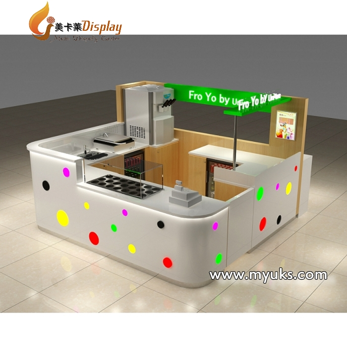 Shopping mall indoor fast food kiosk design in retail