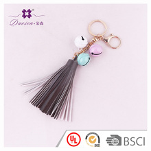 Certificate UL friendly handbag accessory bells key ring grey black leather tassel keychain for women