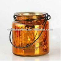 Top Metal Colour glass hanging wire candle holder