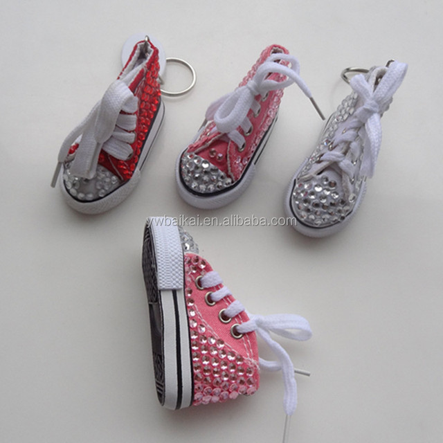 crystal mini sport shoes key chain