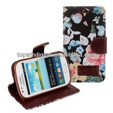 For Samsung Galaxy S3 Mini i8190 Flip case with Flower Pattern Design