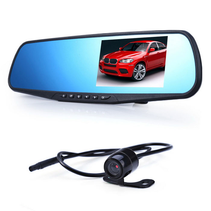 "4.3"" Double Lens Car Traveling Data Recorder DVR, Car Parking Monitor Recorder w/ Rear Camera"