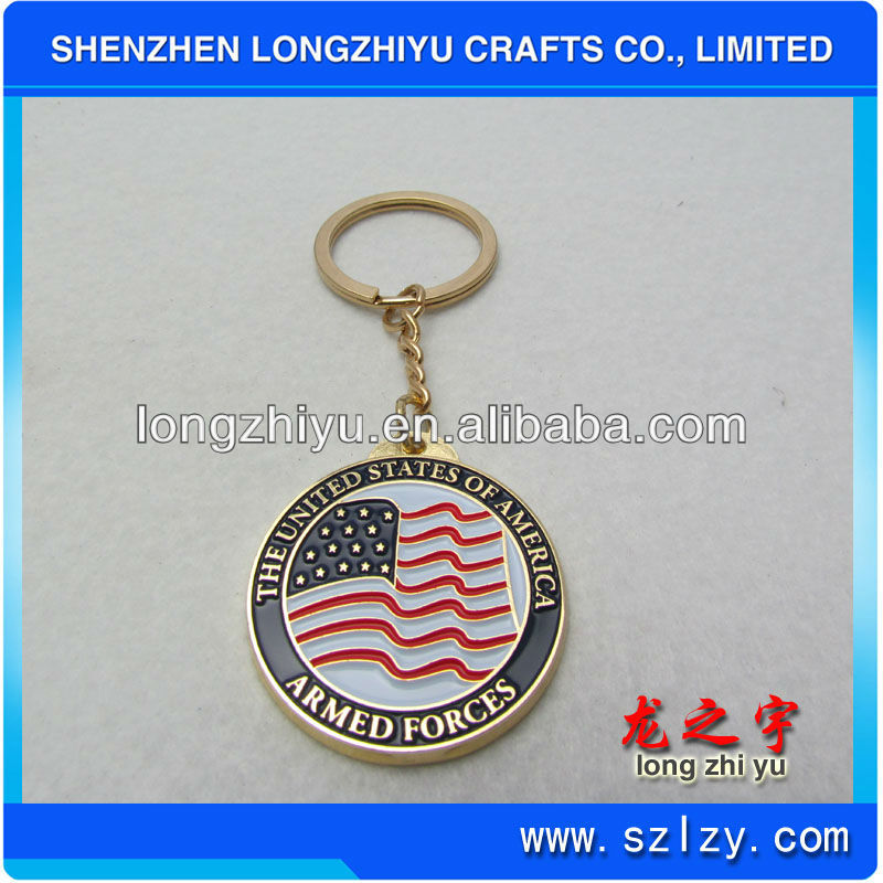 High quality metal coin medal America flag key holder,customized souvenir promotion key rings for sale