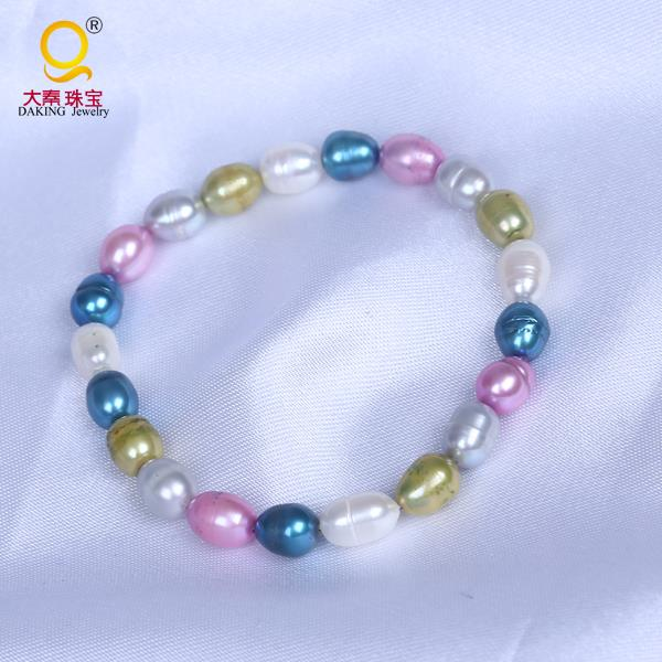 Fashion rice shape freshwater pearl various colours pearl bracelet jewelry