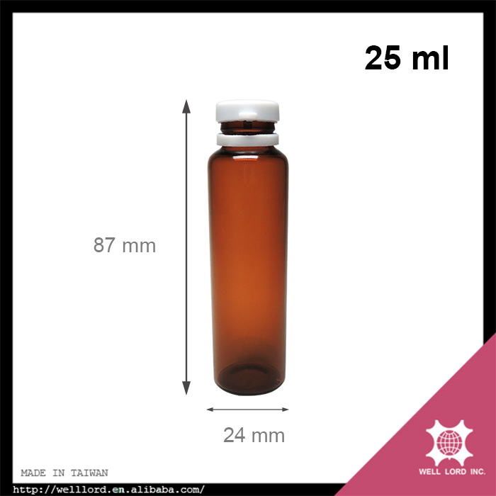 Medical use 25ml tall screw on white cap empty amber medical jar