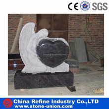 Angel Heart Customized Polished Black Granite Tombstone