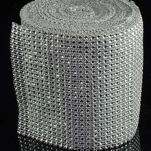 Plastic 4.65 inches <strong>X10</strong> yards acrylic sparkle diamond mesh ribbon silver diamond wrap