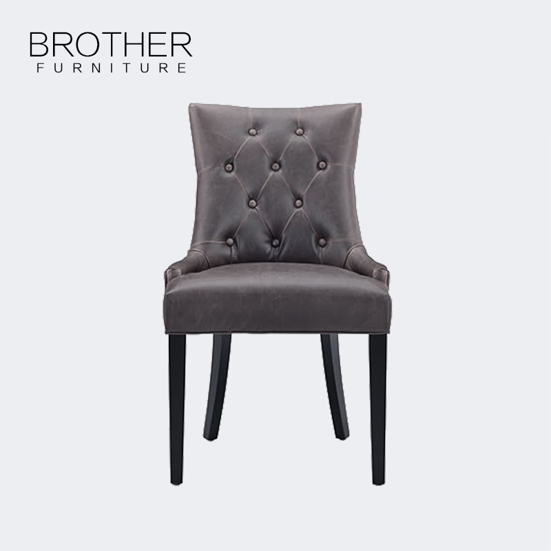 wholesale modern furniture luxury wooden Black leather dining chair