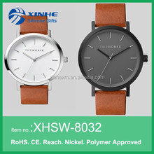 High quality custom dial color vogue men brown leather watch