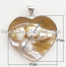 heart charm shell pendant,with alloy pendant bail