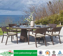 Outdoor PE study Patio rattan chair and round table furniture set