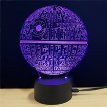 Hot sale Amazing Desk Gift Optical illusion 3D lamp The Death Star night light