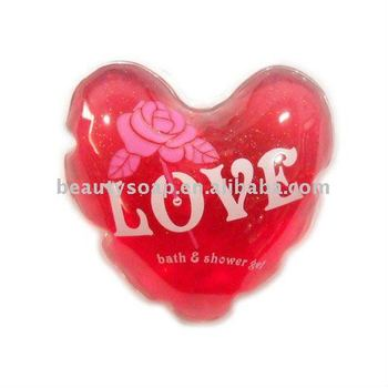 heart shape bath gel bubble bath