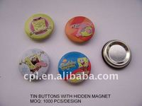 OEM custom design metal tin button with hidden magnet/ fridge magnet