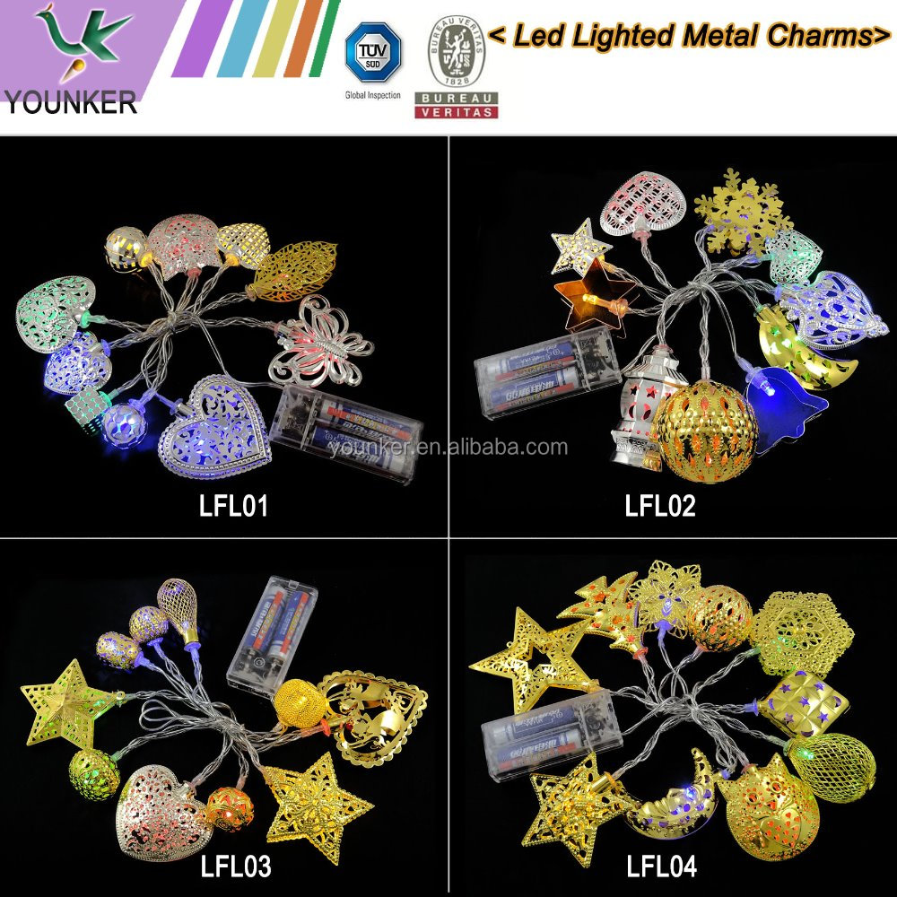 Led Lighted Multicolor and Shapes Decorative Metal Charms