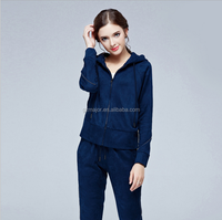 2016 High quality pure cotton new style black and grey velour women tracksuit leisure wear