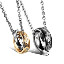 Wholesale Stock Stainless Steel Fashion Chain Necklace With Double Ring for Couple