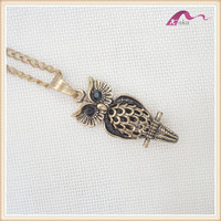 Distributor custom fashion metal small owl pendent necklace for fashion