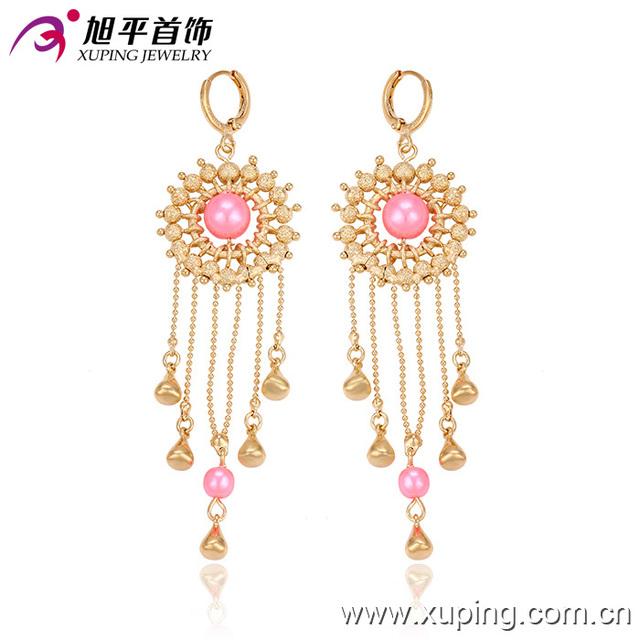 29640 High fashion women jewelry beads earrings tassels water drop shaped earrings pink imitation pearl eardrops