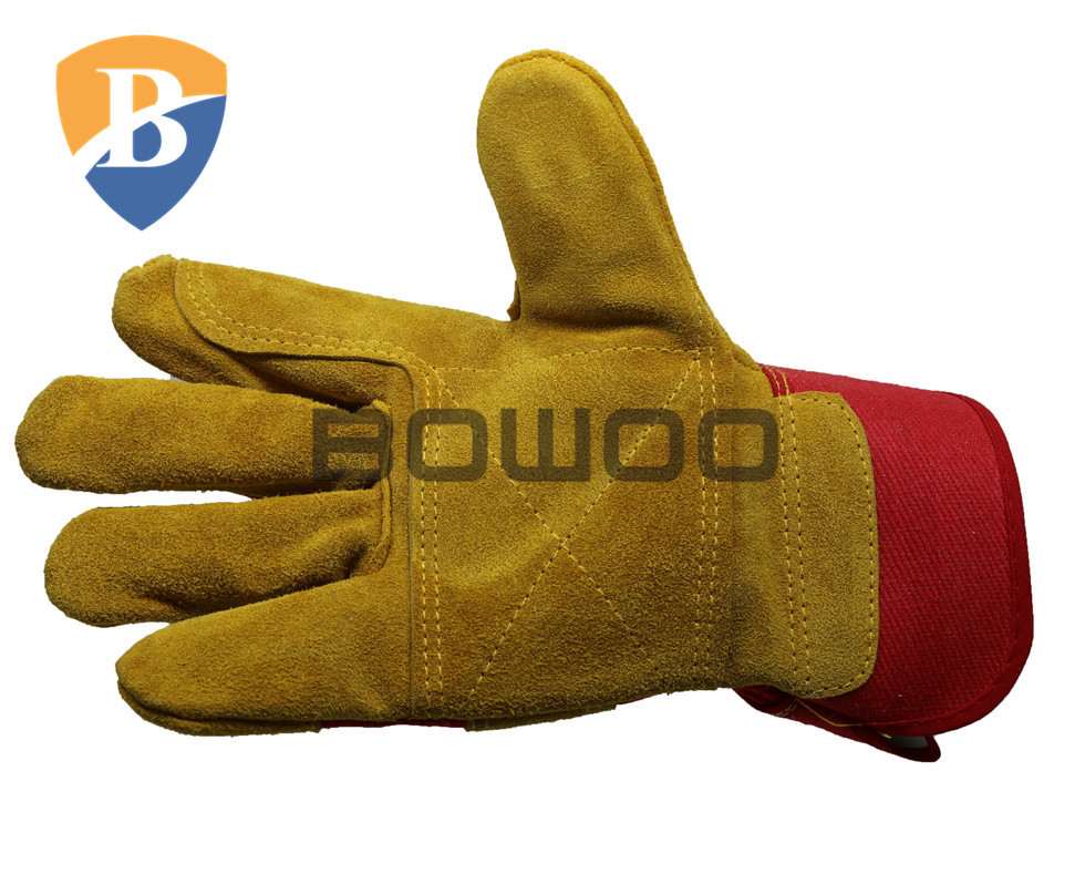 Mechanical use construction cow leather work gloves