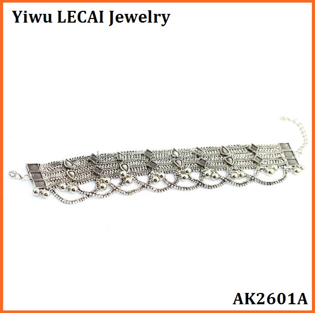 Wholesale new designs Unique Bohemian silver or gold anklet bracelet