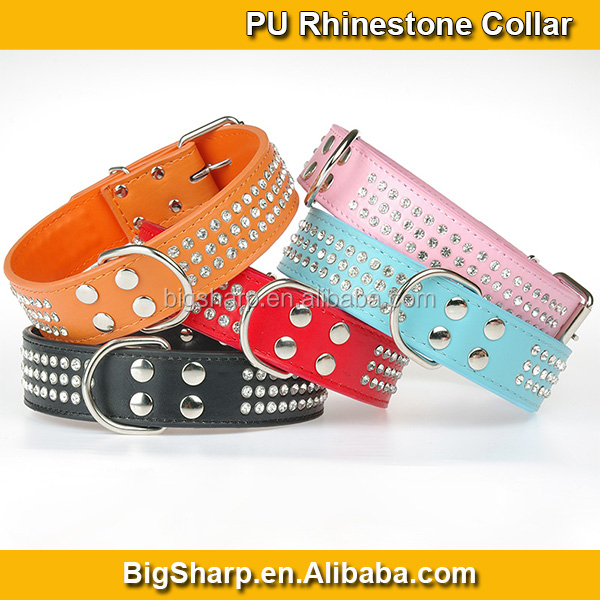 Princess & Gentle Necklace for Big Dogs PU Collar Sparkle Diamond Leather Large Dog Triple Row Rhinestone collar PC4012