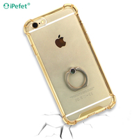 Alibaba Hot shockproof transparent silicone cell phone case with ring holder for iPhone 7