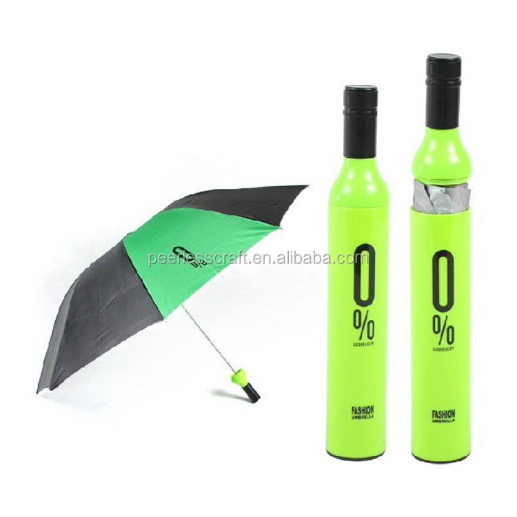 8 Pannels Cheap 3 Fold Umbrella Advertising Wine Bottle Deco Umbrella