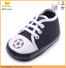 Football design canvas and PU material soft sole newborn baby shoes boys