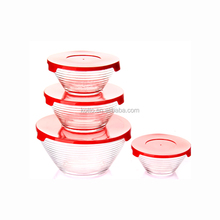 Horizontal grain decoration 4pcs glass salad bowl set with lid glass food container