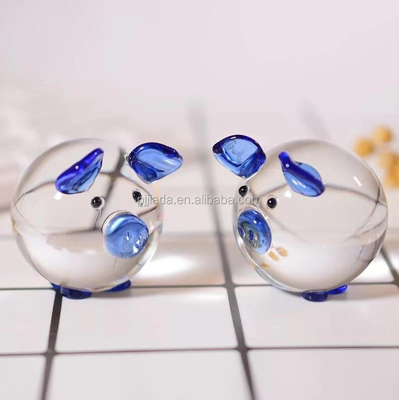 Hot sale desk ornament birthday/wedding gift souvenir blue clear crystal glass animal pig for kids ornaments