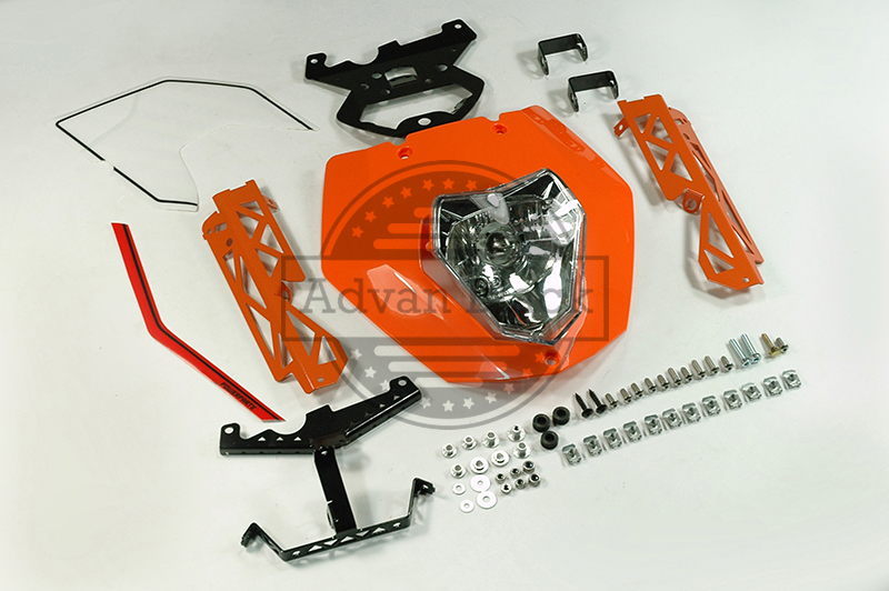 Emark Orange Headlight Mask Lights Assembly Bracket Fit For KTM 125 200 390 Duke