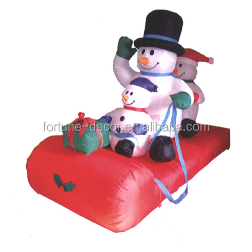 150cm/5ft Inflatable snowman family on the red sled for christmas decoration