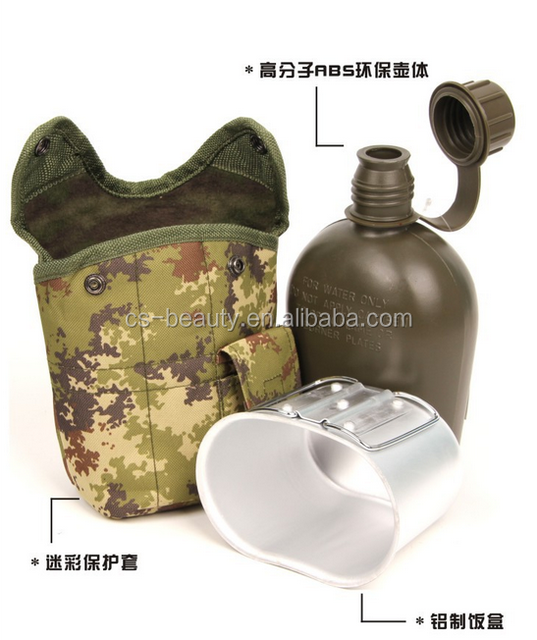 CS Multicolor 1L Portable Camping Water Kettle Camouflage Tactical Army Military Water Bottle +Aluminium Canteen Cup+ Hydration