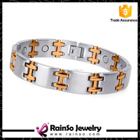 New Stainless Steel Rose Gold Blood Pressure Bio Magnetic Bracelet
