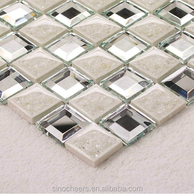Ceramic Porcelain Tile Crackle Crystal Glass Mosaic Mirror Tile
