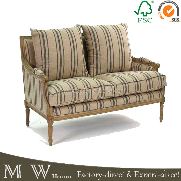 natural oak wood sofa with blue stripe, french country style sofa, french country sofa