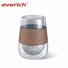 Double Walled Clear Glass Wine Cup Tumbler Bottles with Silicone Grip