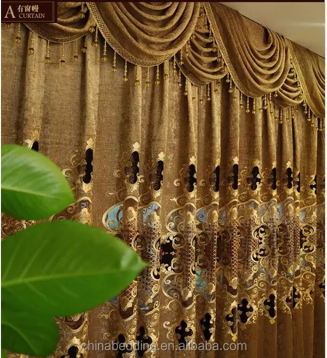 Luxury 2016 Floral Designs/ Polyester/ Flannelette curtain fabric for Window/ saloon/ door