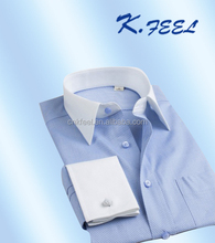 Latest Blue cotton man shirt with white French cuff and collar