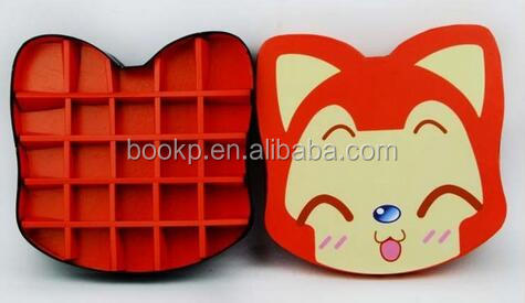 the lovely pet shape paper chocolate packaging cardboard gift box with lid and inner tray