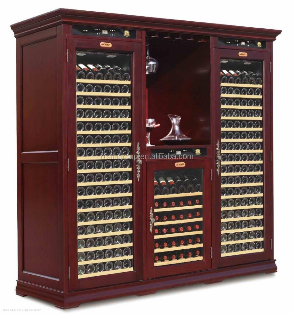 Double Sides Red Wine Storage Cabinet Wooden Oak Wine Cabinet With Cooler