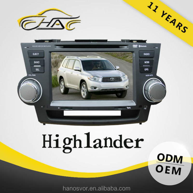 In dash Radio bluetooth car player for toyota highlander with maps navigation 8 GB sd card