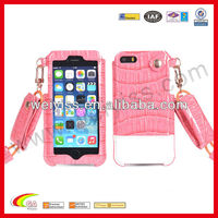 Leather pouch slip case for iphone 5 , croco lanyard case for iphone